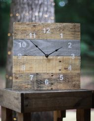 original reclaimed pallet clock functional grey