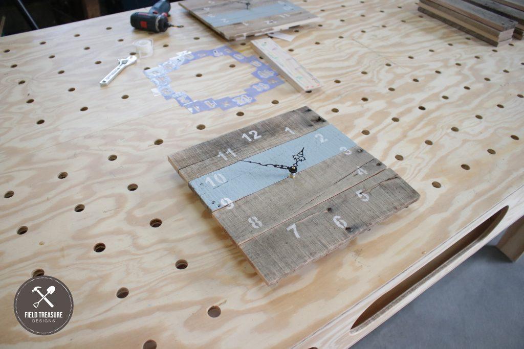 Reclaimed Pallet Clock Field Treasure Designs 2